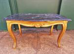 French Coffee Table, Marble top with carved Gilt Legs