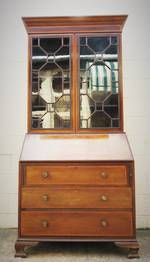 Antique Sheraton style Bureau Desk with Glazed Bookcase $3500