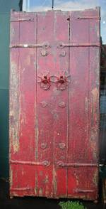 Ancient painted red Chinese Door $2250