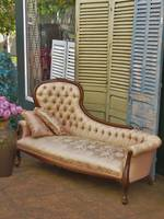 Dusky Pink Brocade Button Back Chaise Lounge Sofa $2250
