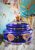 Vintage Intense Blue Murano Lidded Bowl $950