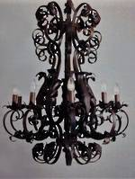 Wrought Iron Chandelier, Black, Gold or Bronze 3 x sizes  6 arm,