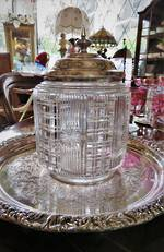 Victorian Cut Crystal Biscuit Barrel