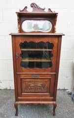 Antique French or English Glazed Cabinet, Carved Mahogany with bevel edged Mirror