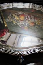 Heavy Footed Sterling Silver Engraved Salver Serving Tray with Claw Feet
