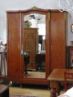 Impressive Burr Walnut French Antique Armoire, Fitted Wardrobe, Dress Mirror $4950