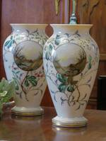 A Complimentary Pair of Hand-Painted Enamel Victorian Glass Vases $495