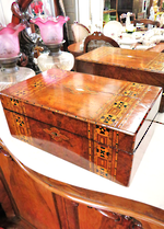 Magnificent Walnut Inlaid Writing Slope Deed Box - Secret Compartment!