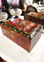 Exceptional Inlaid Shell & Silver Antique Deed Box - Writing Slope
