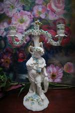 Early Meissen  Porcelain Cherub Candelabra Encrusted with Hand Applied Floral Decoration