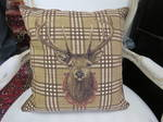 Belgium Tapestry Cushion, Deer Head, Burberry Background $99