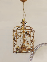 Vintage Gilded Wrought Iron Bird Cage Chandelier
