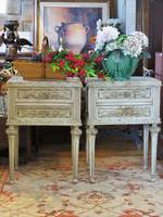 Pr French Provincial Decorative Hand-Painted Bedsides Currently Un-restored