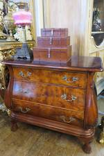 Unique Burr Walnut French Serpentine Bombe Chest of Drawers $2500