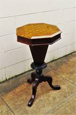 Antique Marquetry Games or Sewing Table