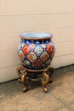 Vintage Chinese Porcelain Fish Bowl on Stand $950