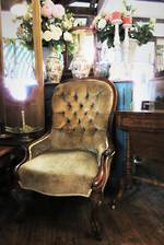 Antique Green Velvet Victorian Button Back Salon Chair $1500