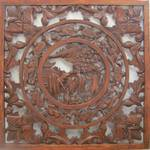 Chinese Wooden Carved Wall Art - Pair