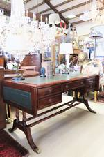 Regency Style Solid  Mahogany Drop Leaf Desk with Matching Leather Chair $3900 for 2 pcs