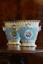 Pr Fine Italian Hand-Painted Porcelain Vases with Raised Gilt Enameling $599pr