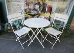 French Style Cafe Set, Collapsible Metal Table & Chairs Cream $495