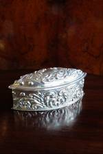 Antique Sterling Silver Repousse Box with Hinged Lid