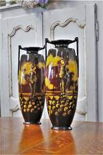 Pr Twin Handled Hand-Painted Glazed Pottery Vases $1900.00 pair