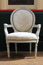 Pr Antique French Salon Arm Chairs, Refurbished $2500pr