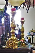 Huge Italian Rococo Style Gold Leaf Candle Sticks $1850.00 pair