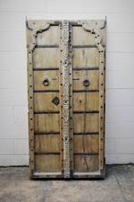 Ancient Indian Iron Bound Carved Teak Double Doors or Shutters $1150