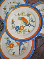 Art Deco Hand Painted Parrot Plates