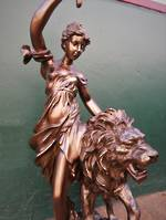 Art Nouveau Lion & Lady Lamp ~ Magnificent!  sold out