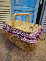 Woven Willow Picnic Basket ~ Lined $125.00