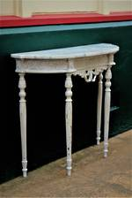 Petite French Antique Marble Topped Hall Console Table $1250