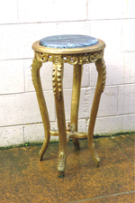 Antique Style French Gilt Marble Topped Plinth, Jardiniere Plant Stand $650