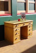 Antique English Pedestal Desk - Leather Top $1995