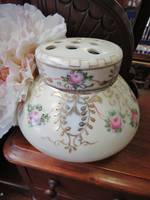 Vintage Hand Painted Porcelain Lidded Rose Bowl