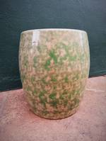 Mid Century Temuka Potteries Bread Barrel with Mottled Glaze