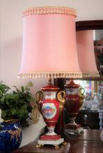 Elegant Vintage Hand Painted Porcelain Lamp with Silk Shade SOLD