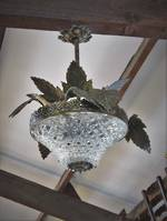 Art Deco Ceiling Light with Decorative Brass Leaves $1350.00
