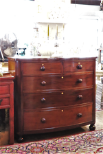 Antique Mahogany Bow Front Chest of Drawers $2750.00