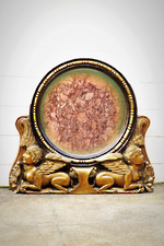 Egyptian Revival Gilded Mirror with Crouching Sphinx like Gargoyles $950.00