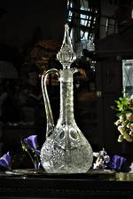 Antique Cut Crystal Goose Neck Wine Decanter
