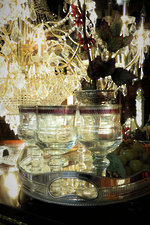 Hand Engraved Heavy Crystal Wine Glasses with Ruby Bands & Silver Rims