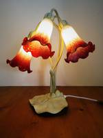 Cranberry Cloud Glass Lily Table Lamp $210.00