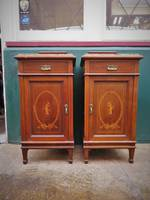 French Antique Marble Topped Inlaid Bedside Tables $1500.00pr