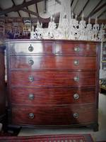 Huge Antique English Mahogany Bow Front Chest of Drawers $3750.00