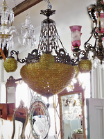 Incredible Gold Glass buttoned Chandelier SOLD
