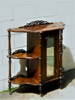 Victorian Burr Walnut Wot Not Shelf & Mirrored Cupboard $1895