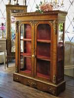 French Walnut Vitrine Display Cabinet with Ormolu Mounts  SOLD